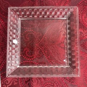 """Tiffany & Co. Basket Weave Crystal 8"""" Square Plate"""